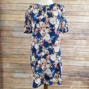 J Crew 100% Silk Floral Short Sleeve Mini Dress